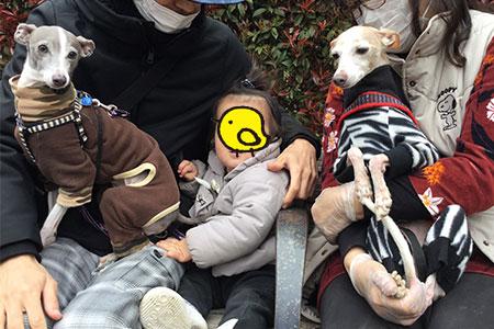 桜散歩の記念写真。イタグレと家族と赤ちゃんと。